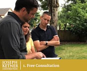 Siding contractor Joseph Ketner consulting with a couple in Portland OR